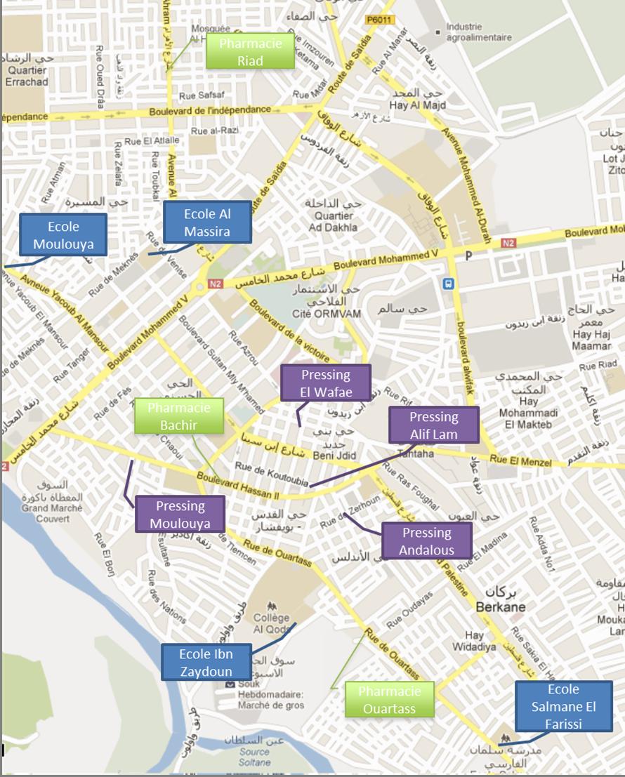 Carte des points de collecte - ADF